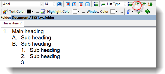 Resuming an enclosing list in nested lists