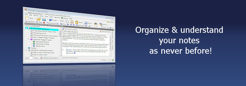 WhizFolders, note organizer and outliner for Windows