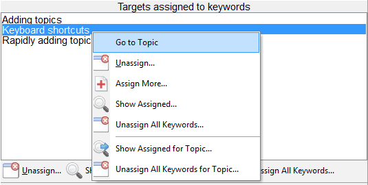 go to topic from manage keyword tags
