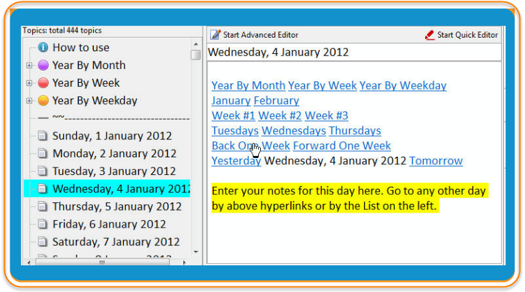 Note-taking software showing a text calendar with hyperlinks