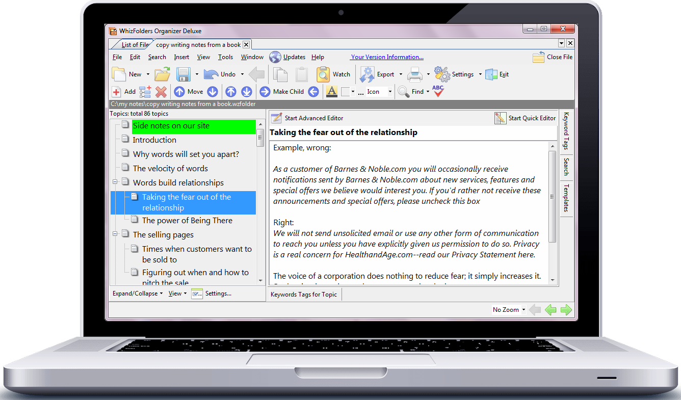 Note-taking software showing a session of making notes from a book