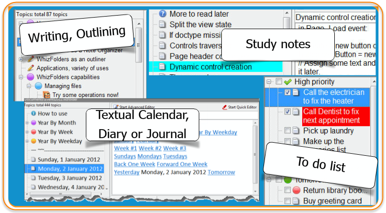 Note-taking software WhizFolders is in fact, many text applications in one software