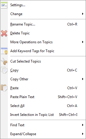 right click menu on outlining list