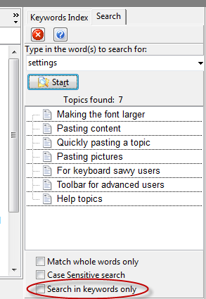 search in keywords only
